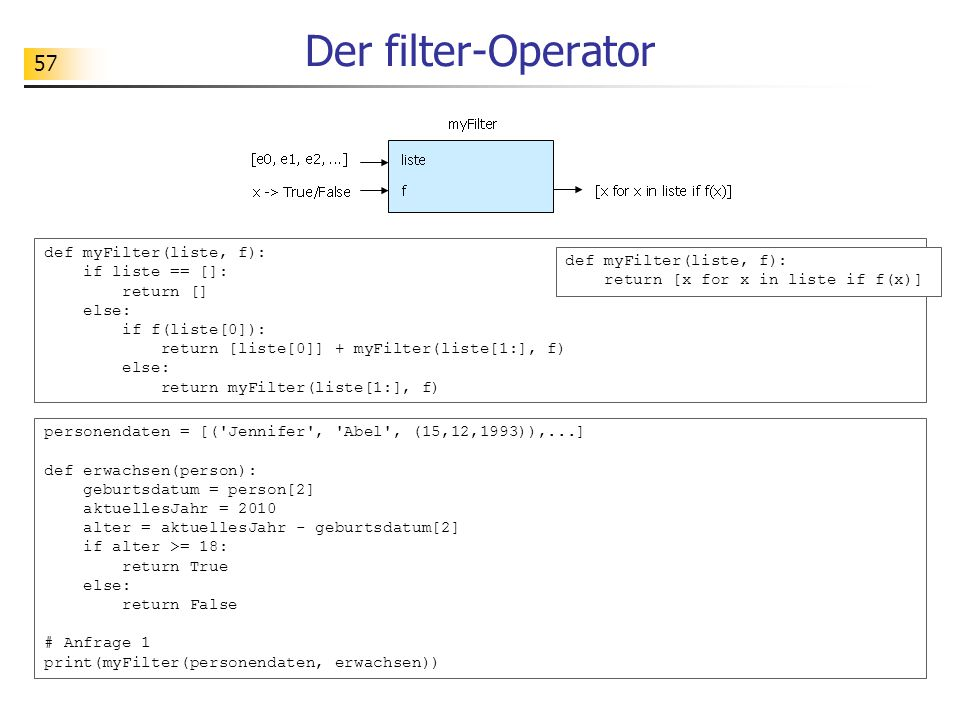 Der filter-Operator def myFilter(liste, f): if liste == []: